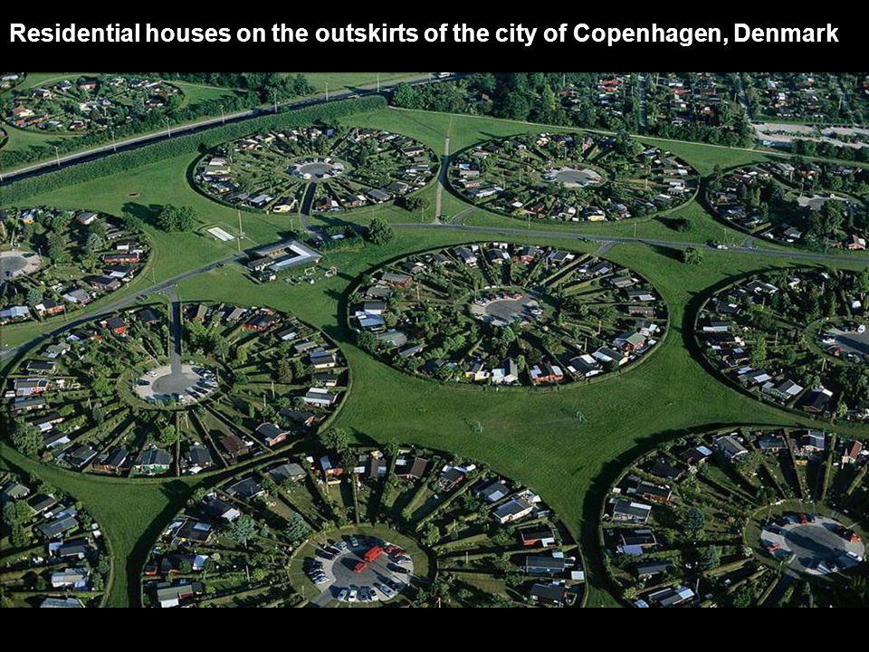 Residential houses on the outskirts of the city of Copenhagen, Denmark