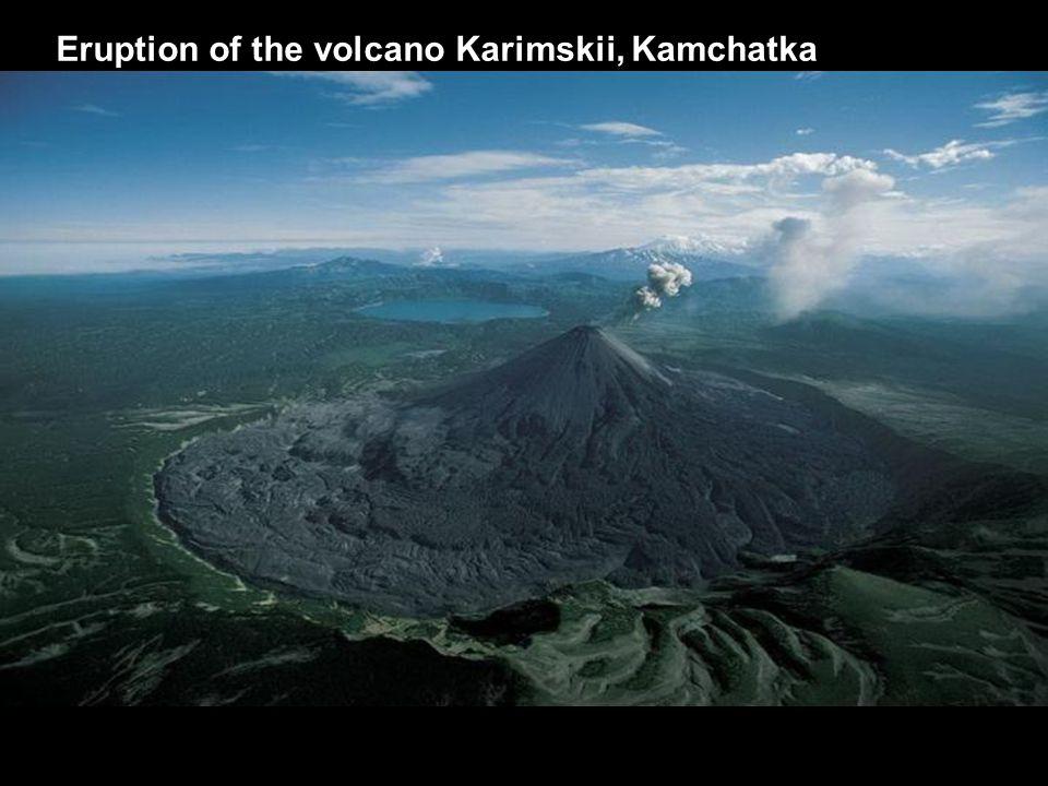 Eruption of the volcano Karimskii, Kamchatka