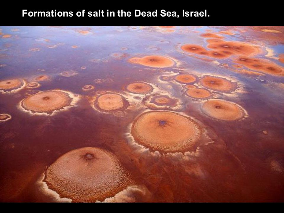 Formations of salt in the Dead Sea, Israel.
