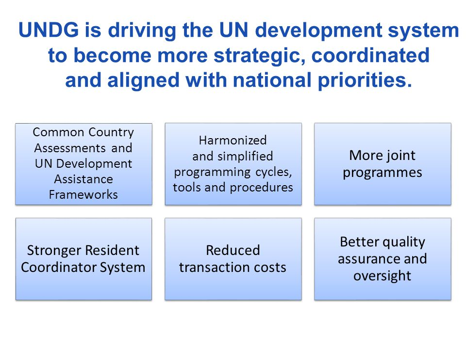 UNDG is driving the UN development system to become more strategic, coordinated and aligned with national priorities. Common Country Assessments and U