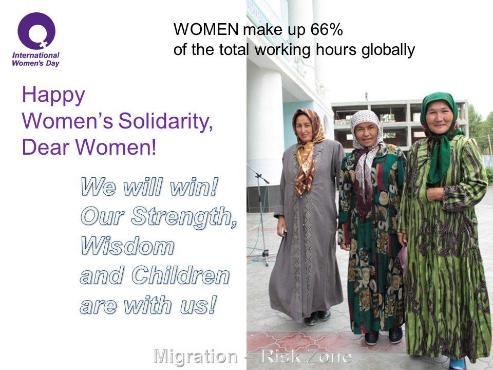 Happy Women's Solidarity, Dear Women! WOMEN make up 66% of the total working hours globally