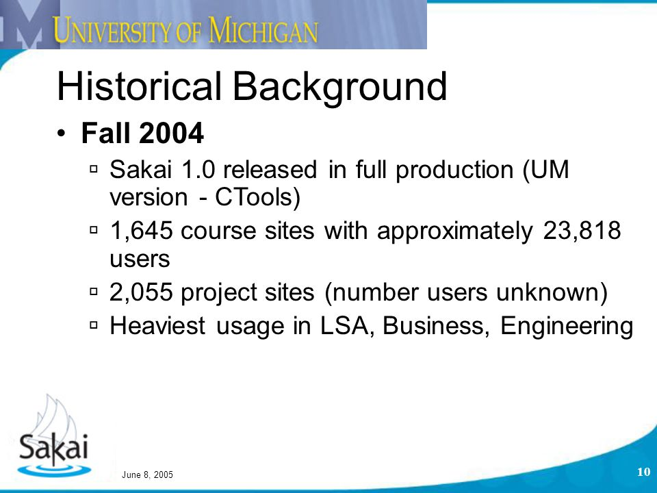 June 8, 2005 10 Historical Background Fall 2004  Sakai 1.0 released in full production (UM version - CTools)  1,645 course sites with approximately 23,818 users  2,055 project sites (number users unknown)  Heaviest usage in LSA, Business, Engineering