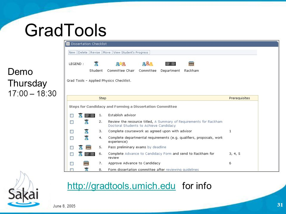 June 8, 2005 31 GradTools http://gradtools.umich.eduhttp://gradtools.umich.edu for info Demo Thursday 17:00 – 18:30