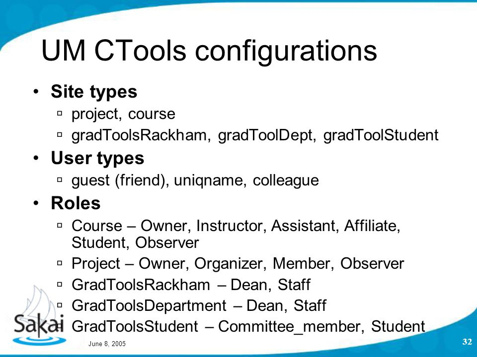 June 8, 2005 32 UM CTools configurations Site types  project, course  gradToolsRackham, gradToolDept, gradToolStudent User types  guest (friend), uniqname, colleague Roles  Course – Owner, Instructor, Assistant, Affiliate, Student, Observer  Project – Owner, Organizer, Member, Observer  GradToolsRackham – Dean, Staff  GradToolsDepartment – Dean, Staff  GradToolsStudent – Committee_member, Student