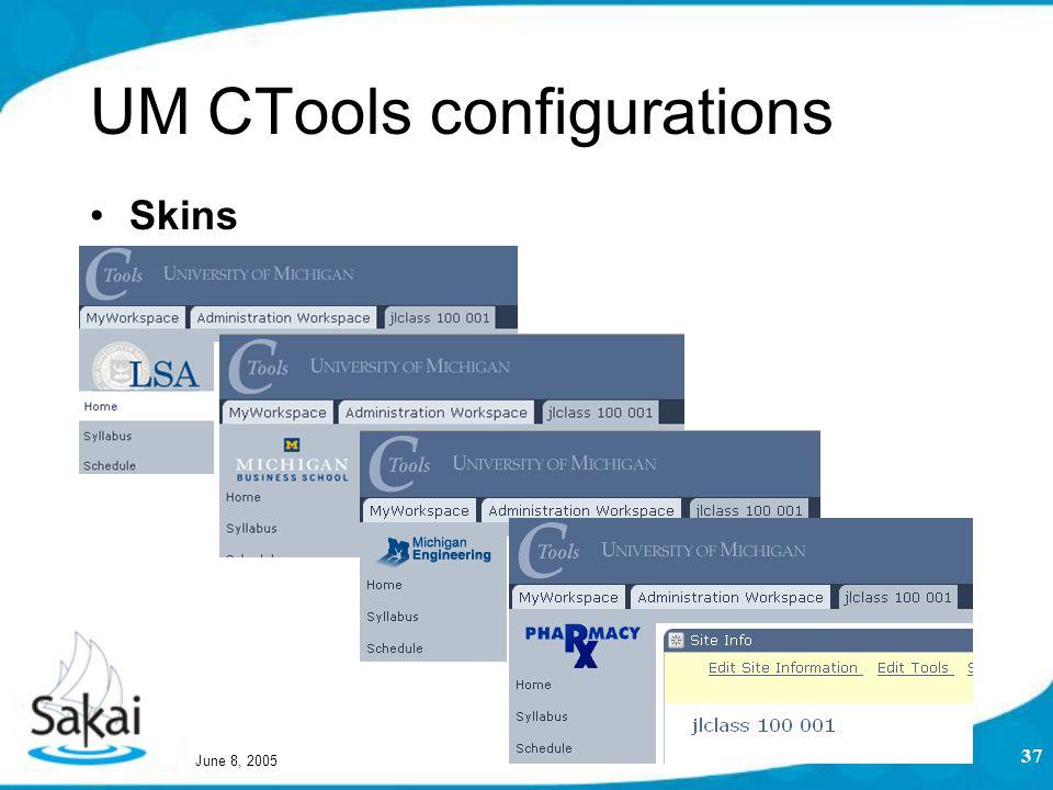 June 8, 2005 37 UM CTools configurations Skins