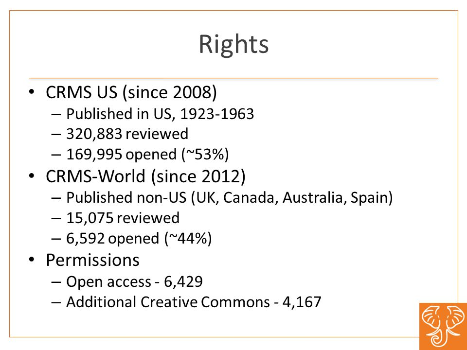 Rights CRMS US (since 2008) – Published in US, – 320,883 reviewed – 169,995 opened (~53%) CRMS-World (since 2012) – Published non-US (UK, Canada, Australia, Spain) – 15,075 reviewed – 6,592 opened (~44%) Permissions – Open access - 6,429 – Additional Creative Commons - 4,167