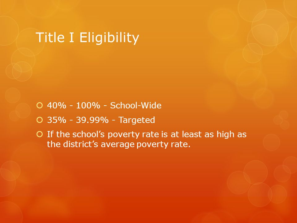 Title I Eligibility  40% - 100% - School-Wide  35% - 39.99% - Targeted  If the school's poverty rate is at least as high as the district's average poverty rate.
