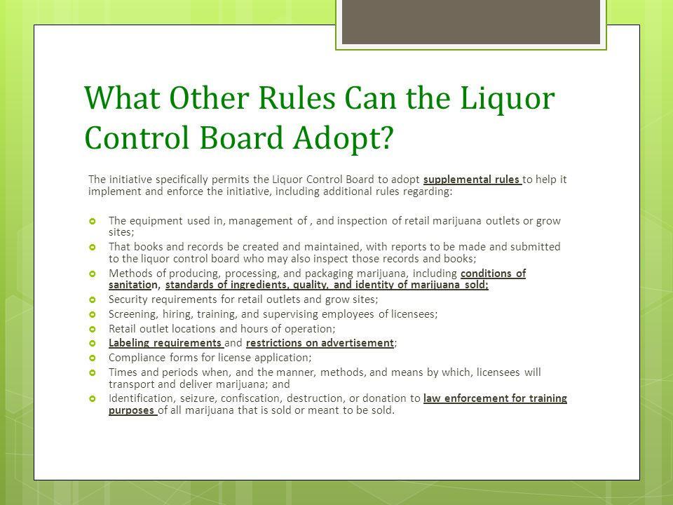 What Other Rules Can the Liquor Control Board Adopt.