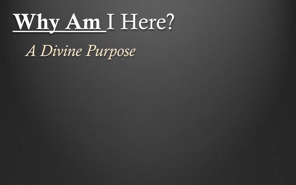 Why Am I Here? A Divine Purpose