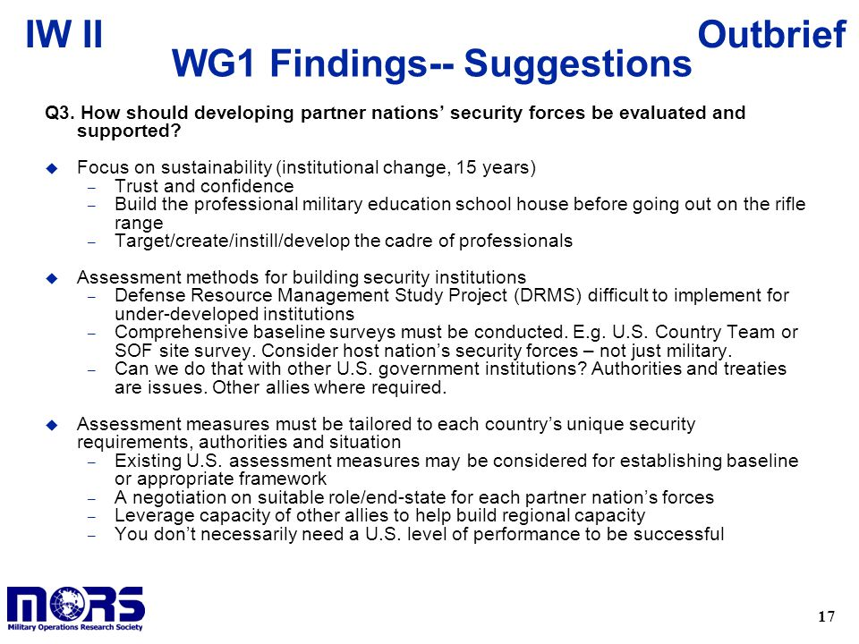 17 OutbriefIW II WG1 Findings-- Suggestions Q3.