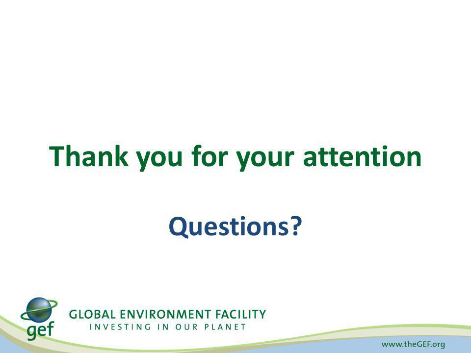 Questions? Thank you for your attention