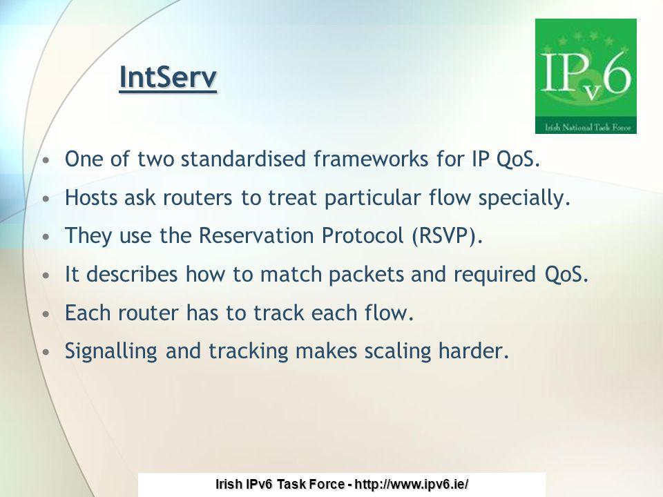 Irish IPv6 Task Force - http://www.ipv6.ie/ IntServ One of two standardised frameworks for IP QoS.