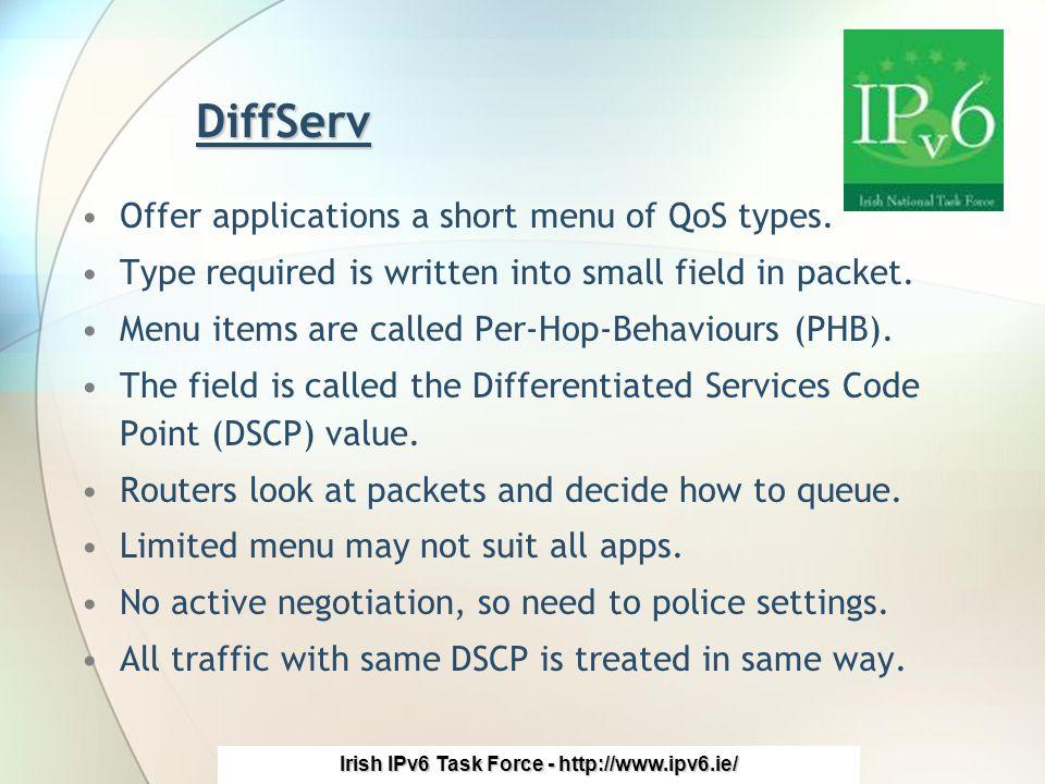 Irish IPv6 Task Force - http://www.ipv6.ie/ DiffServ Offer applications a short menu of QoS types.