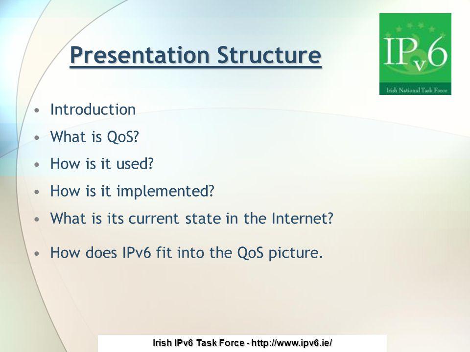 Irish IPv6 Task Force - http://www.ipv6.ie/ Introduction What is QoS.
