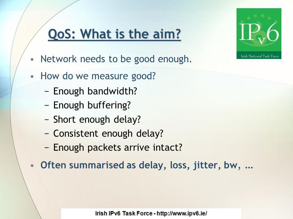 Irish IPv6 Task Force - http://www.ipv6.ie/ QoS: What is the aim.