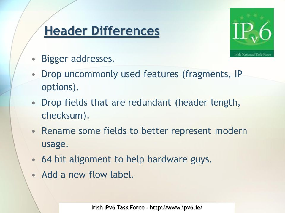 Irish IPv6 Task Force - http://www.ipv6.ie/ Header Differences Bigger addresses.
