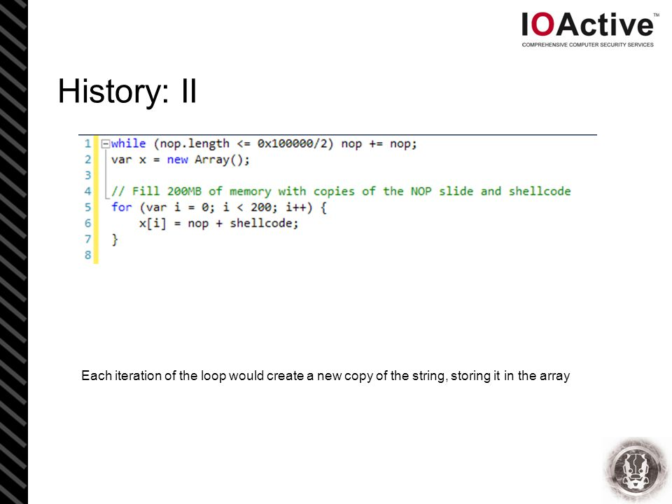 History: II Each iteration of the loop would create a new copy of the string, storing it in the array