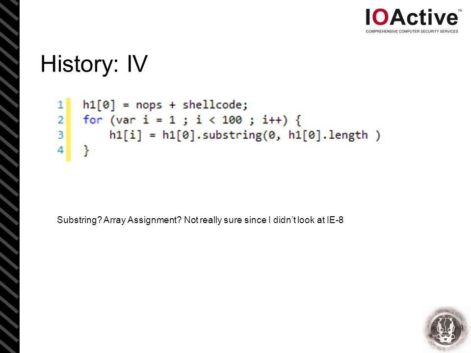 History: IV Substring Array Assignment Not really sure since I didn't look at IE-8