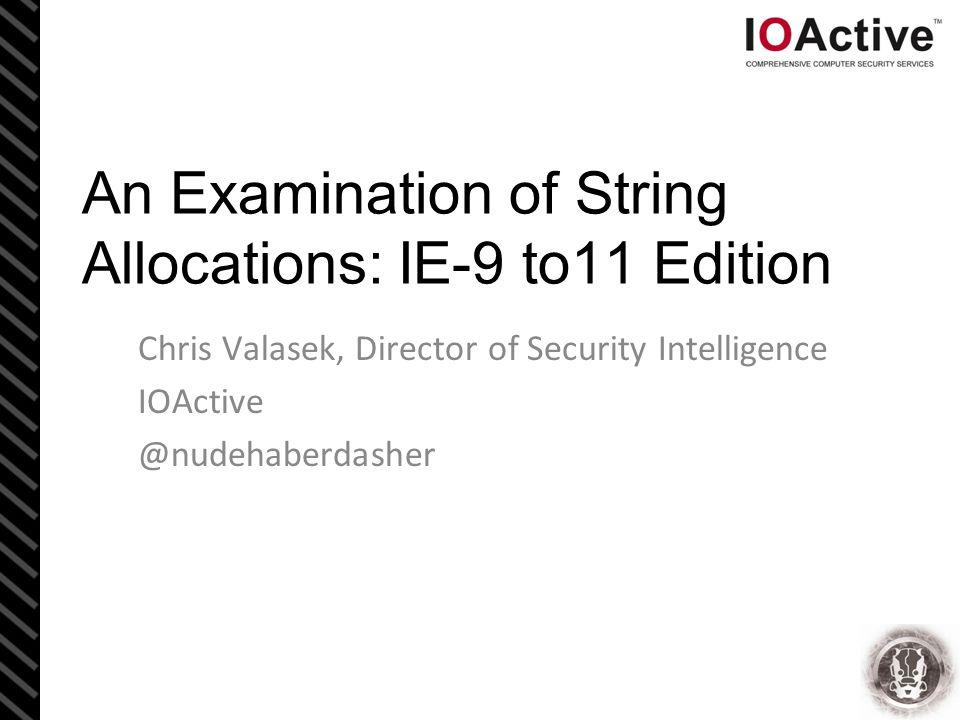 Introduction Chris Valasek Director of Security Intel @ IOA <3 Windows memory stuff Car Hacking.