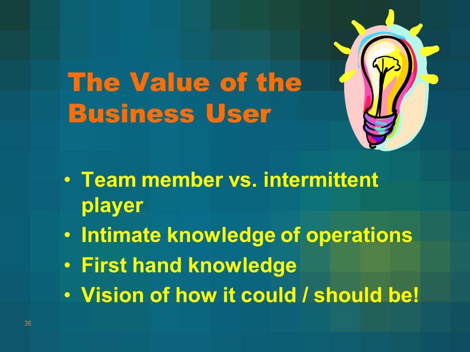 The Value of the Business User Team member vs.