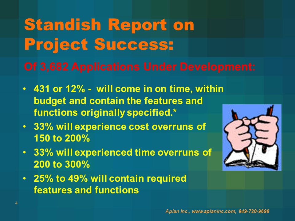 4 Standish Report on Project Success: 431 or 12% - will come in on time, within budget and contain the features and functions originally specified.* 33% will experience cost overruns of 150 to 200% 33% will experienced time overruns of 200 to 300% 25% to 49% will contain required features and functions Of 3,682 Applications Under Development: Aplan Inc., www.aplaninc.com, 949-720-9698