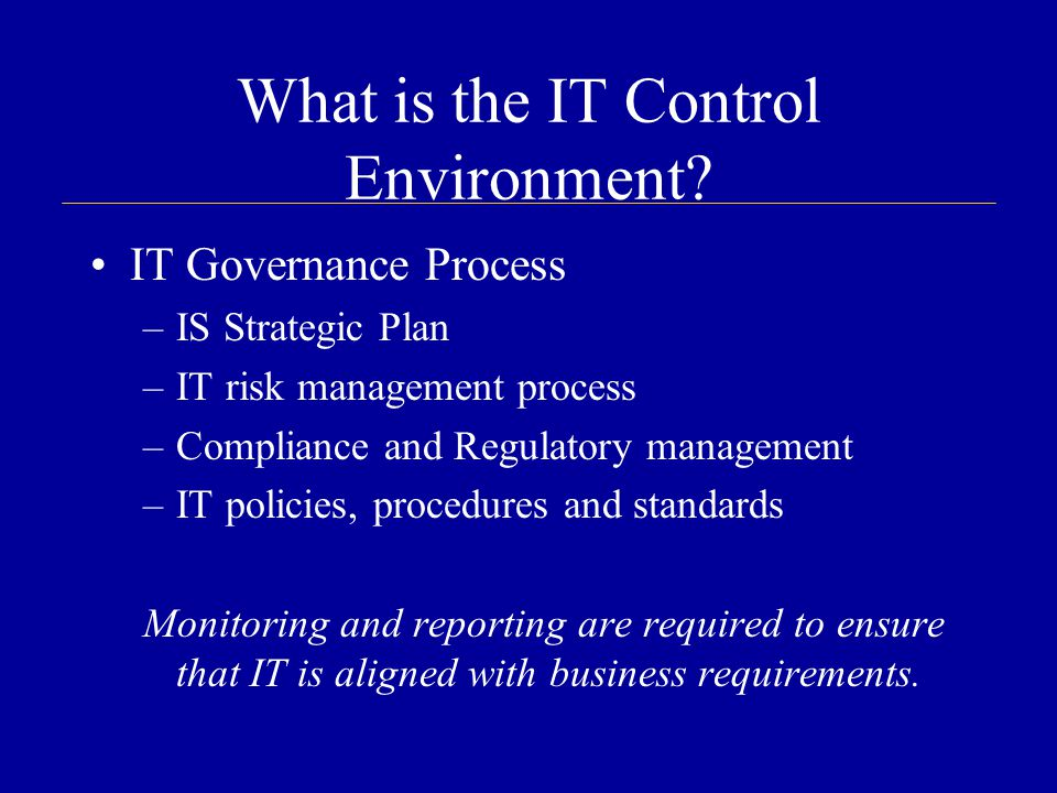 What is the IT Control Environment.