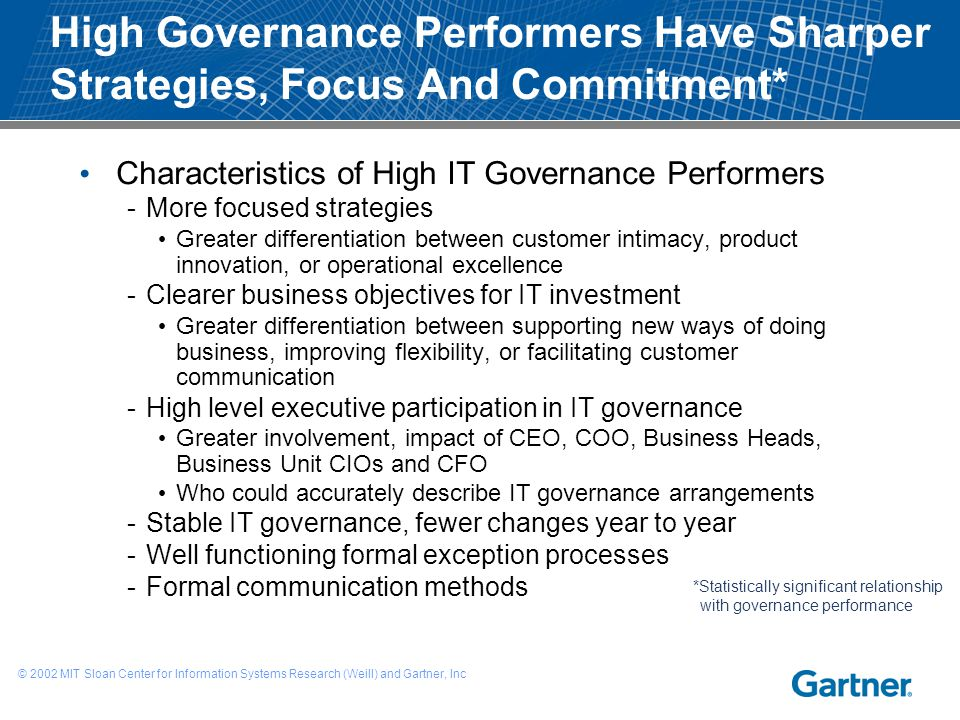 High Governance Performers Have Sharper Strategies, Focus And Commitment* Characteristics of High IT Governance Performers -More focused strategies Gr