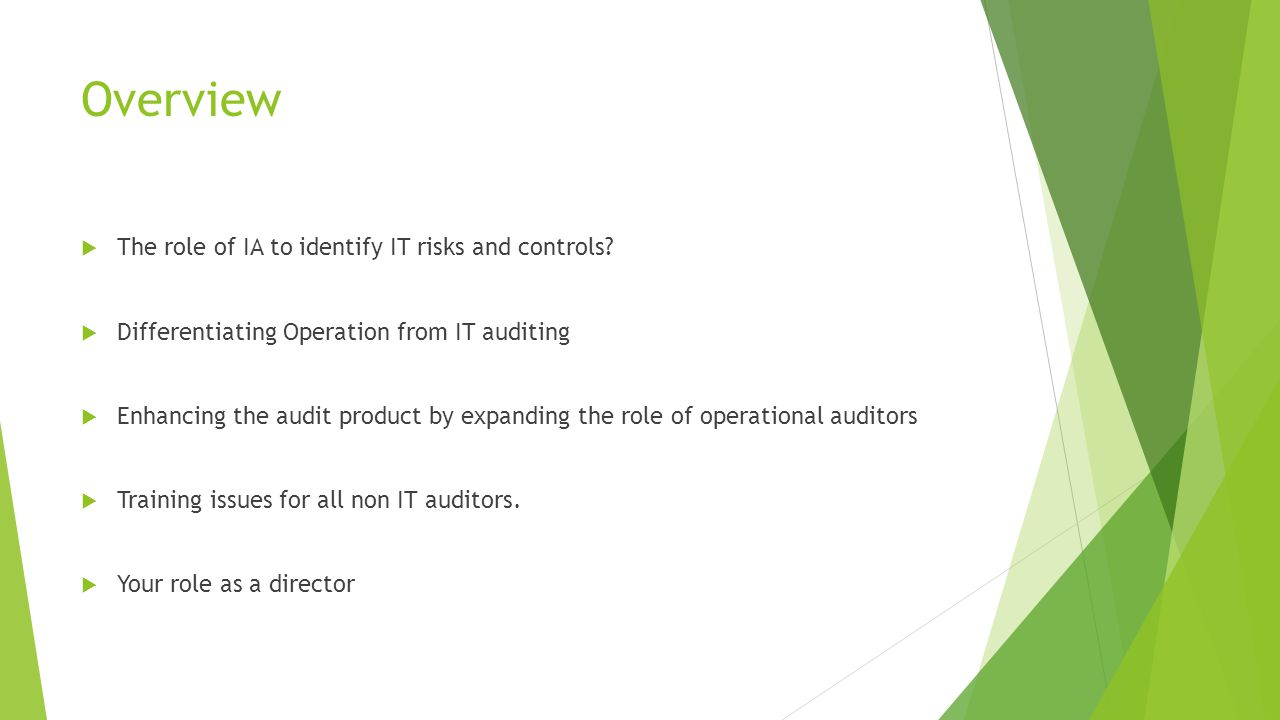 Overview  The role of IA to identify IT risks and controls?  Differentiating Operation from IT auditing  Enhancing the audit product by expanding t
