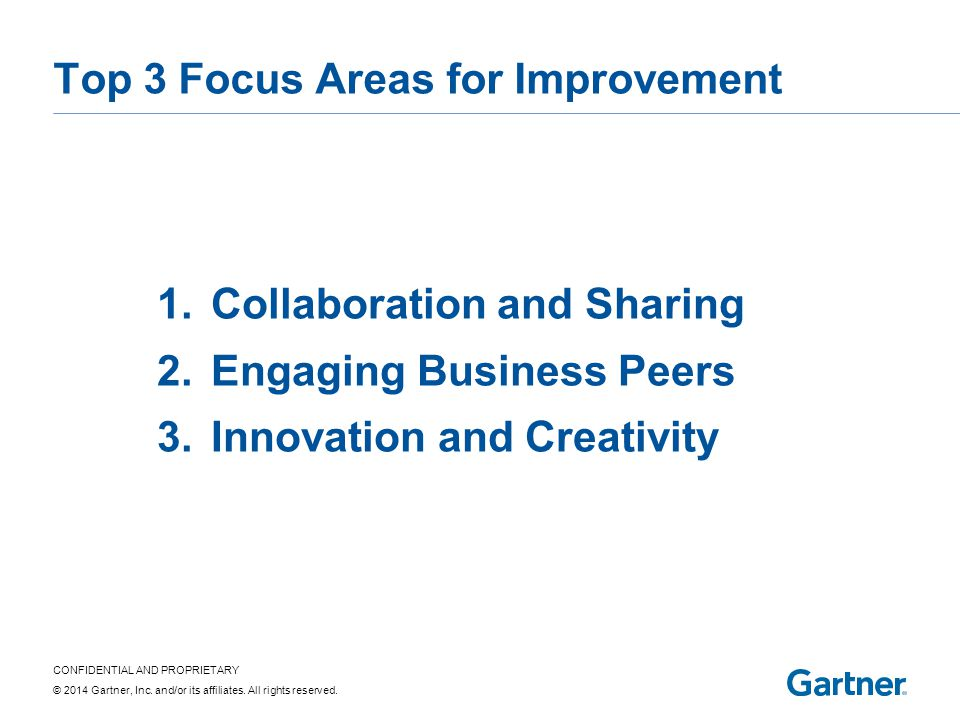 CONFIDENTIAL AND PROPRIETARY © 2014 Gartner, Inc. and/or its affiliates. All rights reserved. Top 3 Focus Areas for Improvement 1.Collaboration and Sh