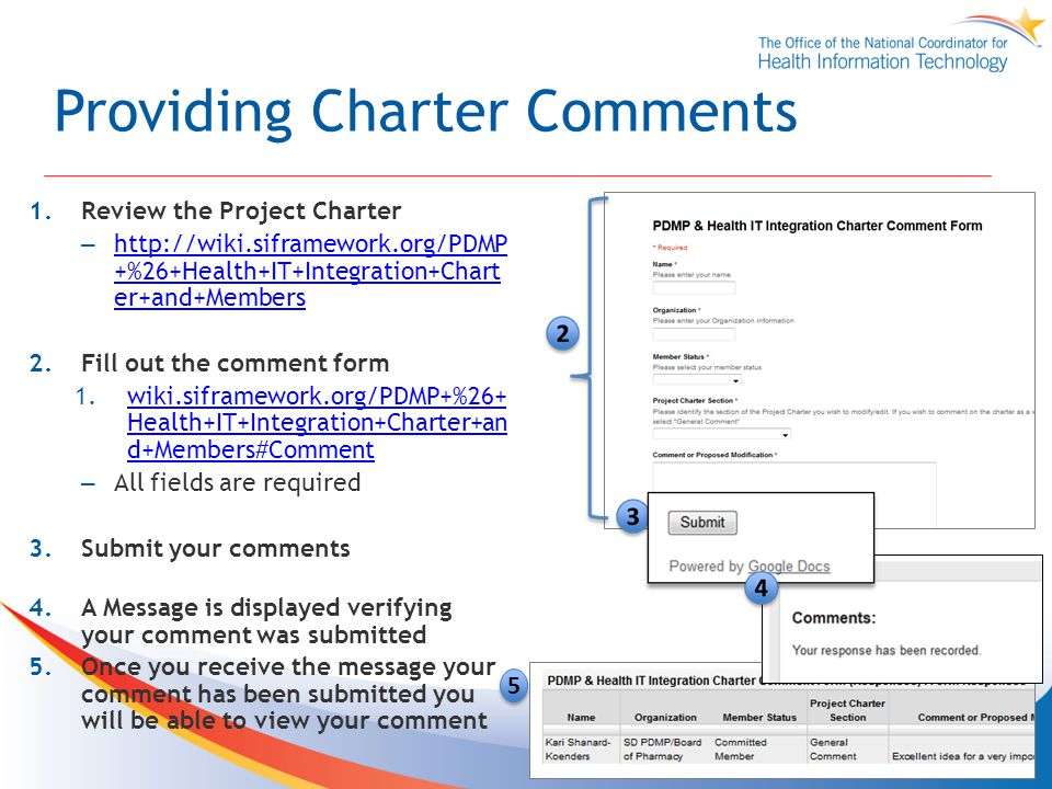 Providing Charter Comments 1.Review the Project Charter –   +%26+Health+IT+Integration+Chart er+and+Members   +%26+Health+IT+Integration+Chart er+and+Members 2.Fill out the comment form 1.wiki.siframework.org/PDMP+%26+ Health+IT+Integration+Charter+an d+Members#Commentwiki.siframework.org/PDMP+%26+ Health+IT+Integration+Charter+an d+Members#Comment – All fields are required 3.Submit your comments 4.A Message is displayed verifying your comment was submitted 5.Once you receive the message your comment has been submitted you will be able to view your comment