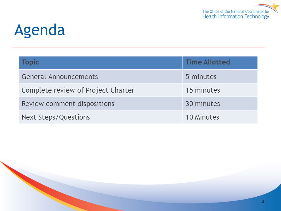 Agenda TopicTime Allotted General Announcements5 minutes Complete review of Project Charter15 minutes Review comment dispositions30 minutes Next Steps/Questions10 Minutes 3