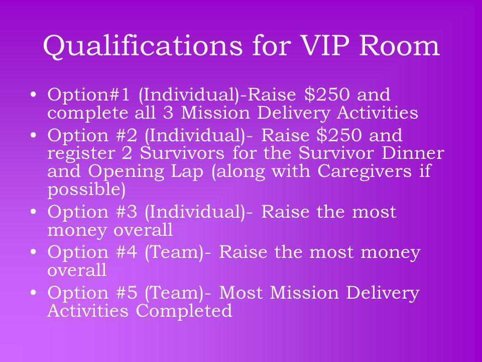 Qualifications for VIP Room Option#1 (Individual)-Raise $250 and complete all 3 Mission Delivery Activities Option #2 (Individual)- Raise $250 and register 2 Survivors for the Survivor Dinner and Opening Lap (along with Caregivers if possible) Option #3 (Individual)- Raise the most money overall Option #4 (Team)- Raise the most money overall Option #5 (Team)- Most Mission Delivery Activities Completed