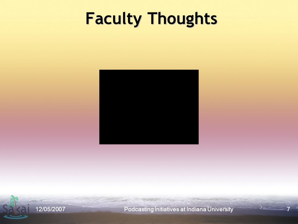 Faculty Thoughts 12/05/2007Podcasting Initiatives at Indiana University7