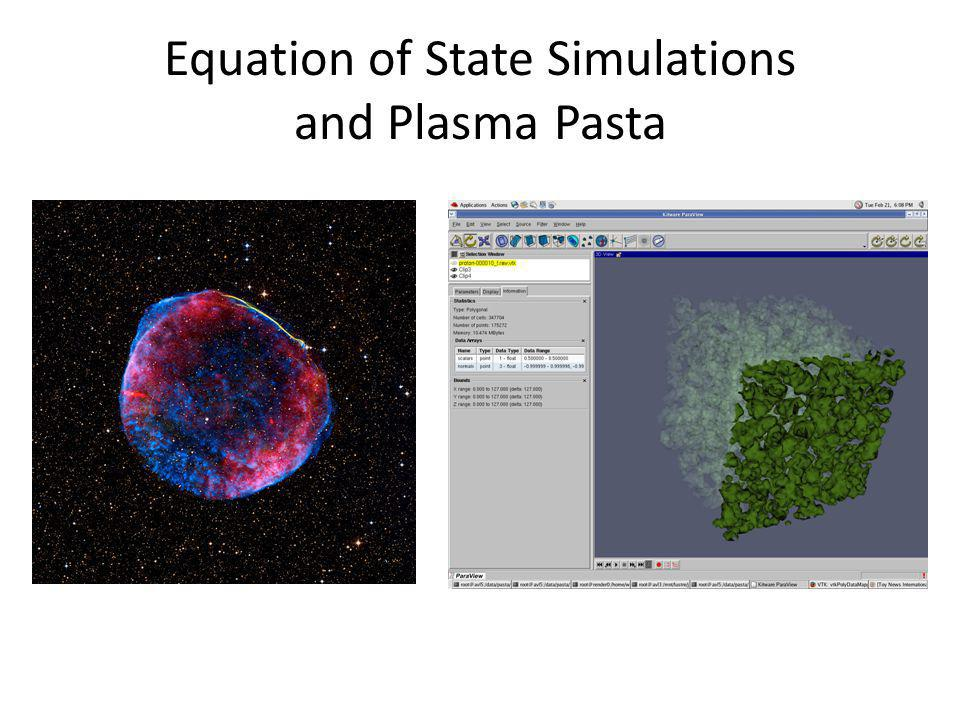 Equation of State Simulations and Plasma Pasta
