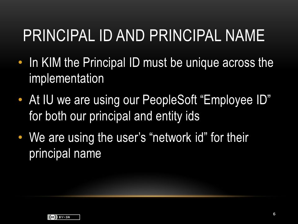PRINCIPAL ID AND PRINCIPAL NAME In KIM the Principal ID must be unique across the implementation At IU we are using our PeopleSoft Employee ID for both our principal and entity ids We are using the user's network id for their principal name 6