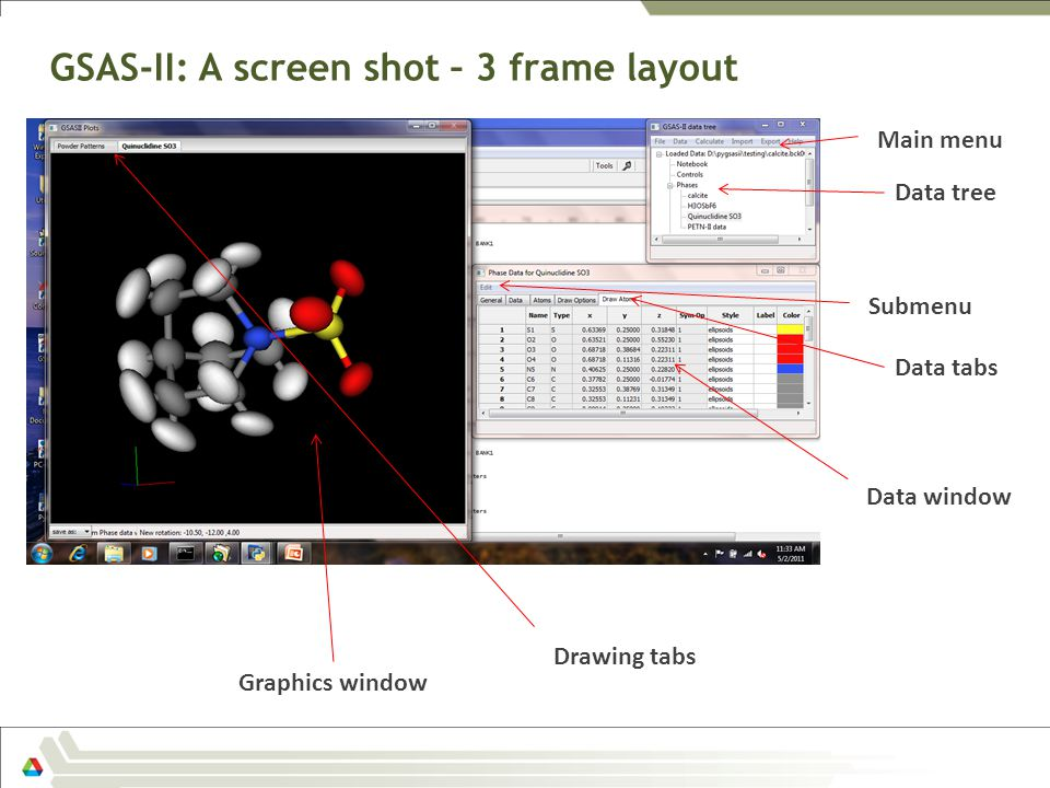 GSAS-II: A screen shot – 3 frame layout Data tree Data window Graphics window Data tabs Main menu Submenu Drawing tabs