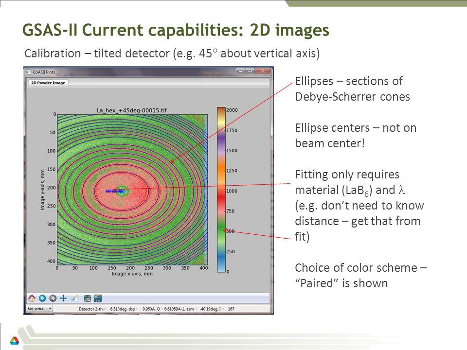 GSAS-II Current capabilities: 2D images Calibration – tilted detector (e.g. 45  about vertical axis) Ellipses – sections of Debye-Scherrer cones Elli