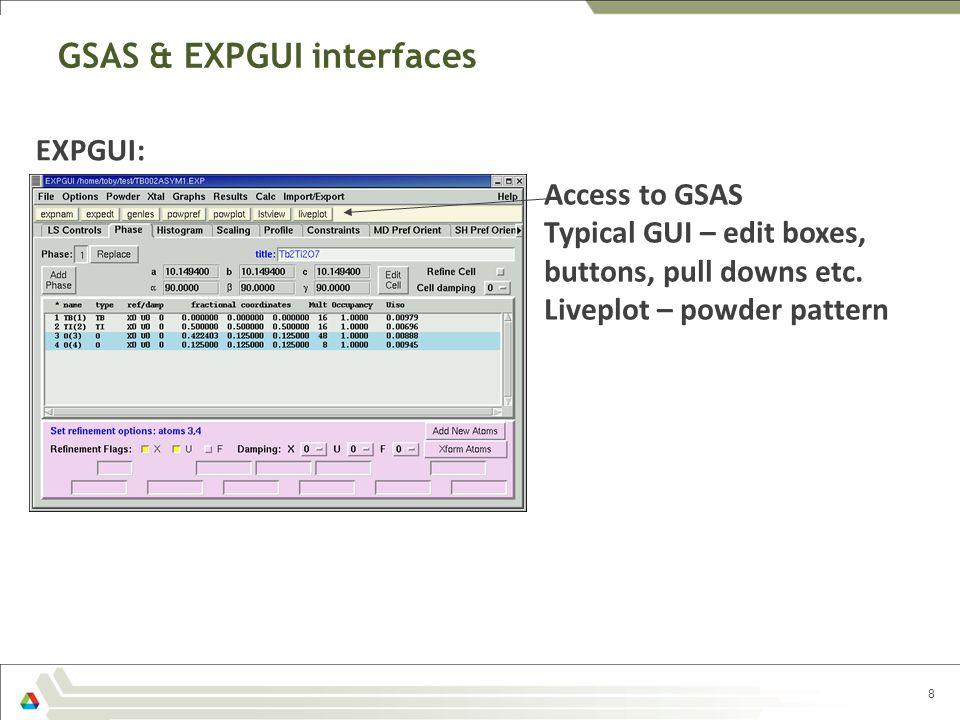 GSAS & EXPGUI interfaces 8 EXPGUI: Access to GSAS Typical GUI – edit boxes, buttons, pull downs etc. Liveplot – powder pattern