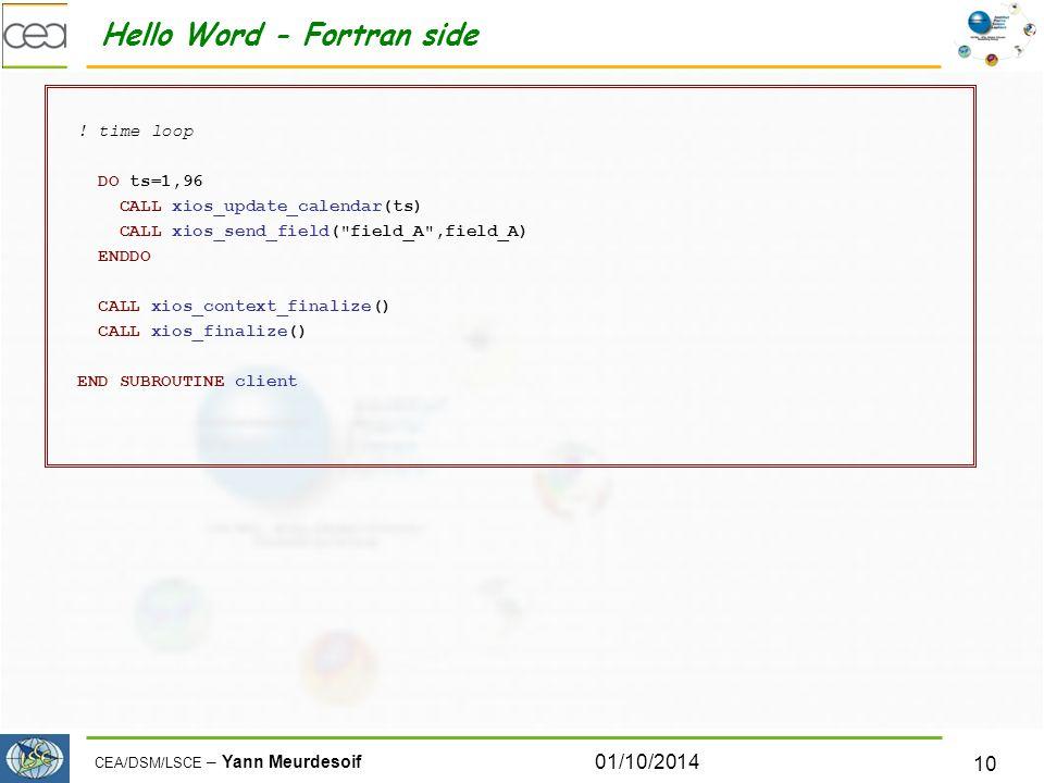 CEA/DSM/LSCE – Yann Meurdesoif Hello Word - Fortran side .