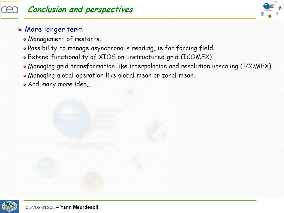 CEA/DSM/LSCE – Yann Meurdesoif Conclusion and perspectives More longer term Management of restarts.