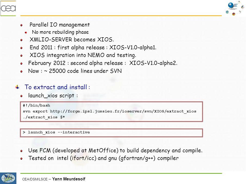 CEA/DSM/LSCE – Yann Meurdesoif Parallel IO management No more rebuilding phase XMLIO-SERVER becomes XIOS.