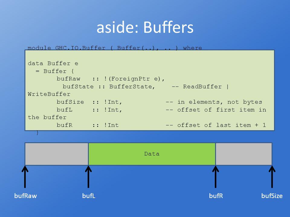 aside: Buffers module GHC.IO.Buffer ( Buffer(..),..