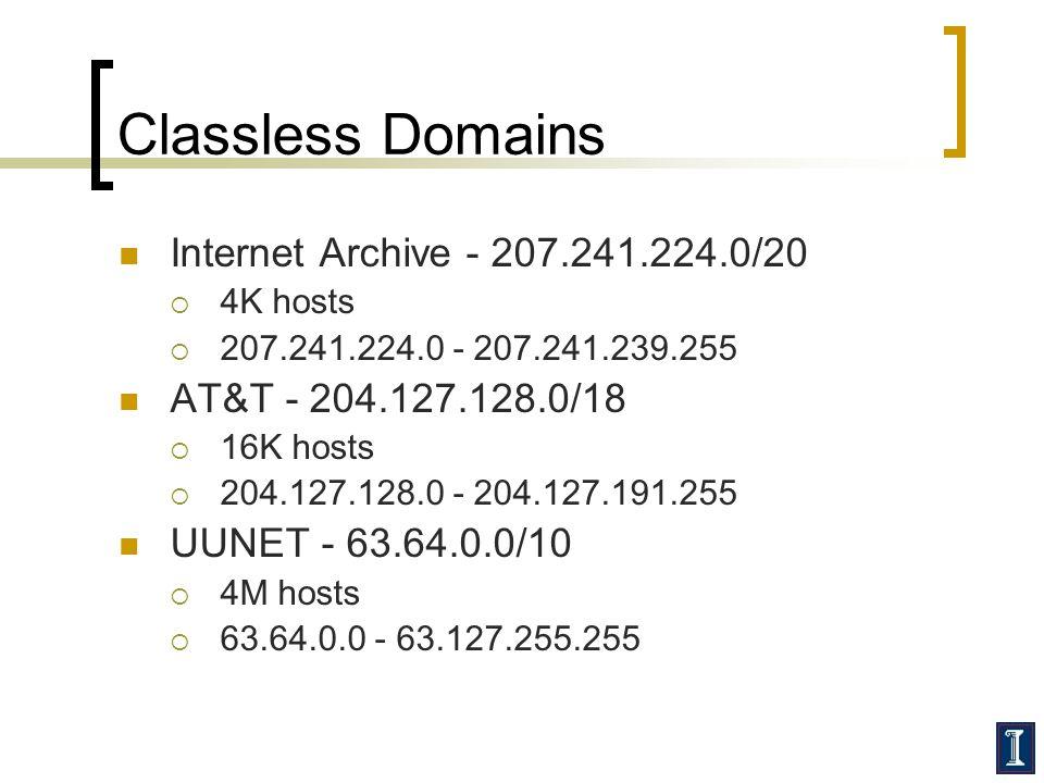 Classless Domains Internet Archive - 207.241.224.0/20  4K hosts  207.241.224.0 - 207.241.239.255 AT&T - 204.127.128.0/18  16K hosts  204.127.128.0 - 204.127.191.255 UUNET - 63.64.0.0/10  4M hosts  63.64.0.0 - 63.127.255.255