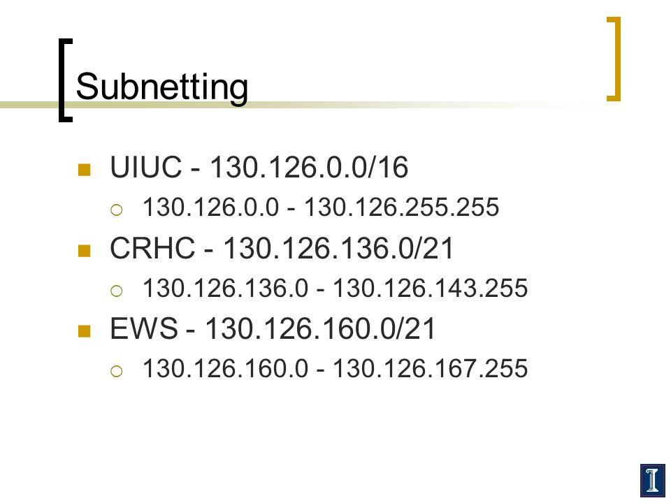 Subnetting UIUC - 130.126.0.0/16  130.126.0.0 - 130.126.255.255 CRHC - 130.126.136.0/21  130.126.136.0 - 130.126.143.255 EWS - 130.126.160.0/21  130.126.160.0 - 130.126.167.255