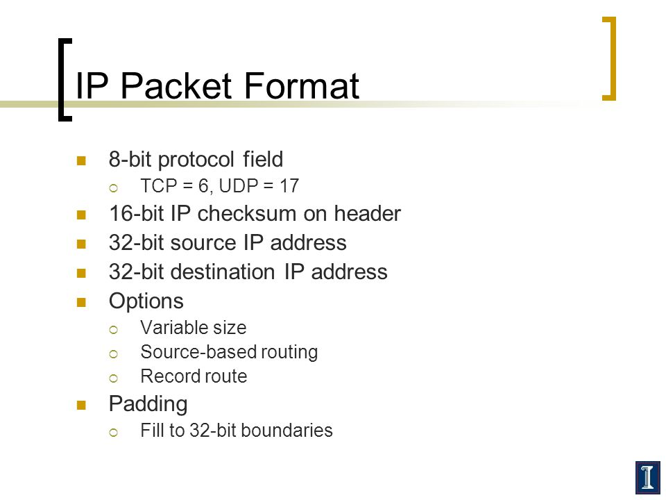 IP Packet Format 8-bit protocol field  TCP = 6, UDP = 17 16-bit IP checksum on header 32-bit source IP address 32-bit destination IP address Options  Variable size  Source-based routing  Record route Padding  Fill to 32-bit boundaries