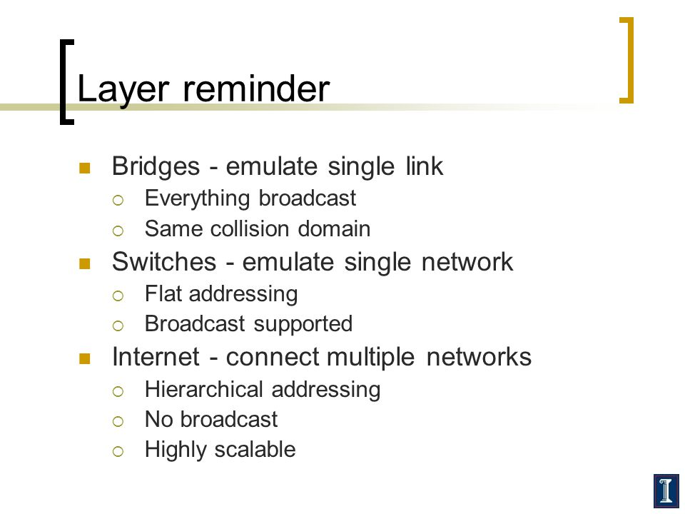 Layer reminder Bridges - emulate single link  Everything broadcast  Same collision domain Switches - emulate single network  Flat addressing  Broadcast supported Internet - connect multiple networks  Hierarchical addressing  No broadcast  Highly scalable