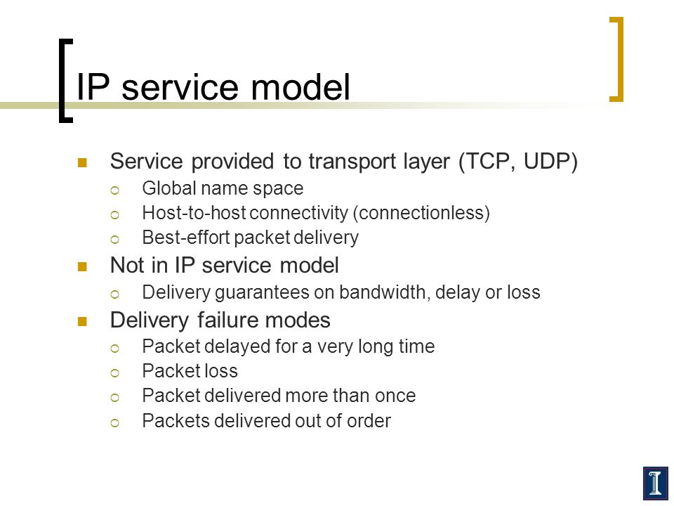 IP service model Service provided to transport layer (TCP, UDP)  Global name space  Host-to-host connectivity (connectionless)  Best-effort packet delivery Not in IP service model  Delivery guarantees on bandwidth, delay or loss Delivery failure modes  Packet delayed for a very long time  Packet loss  Packet delivered more than once  Packets delivered out of order