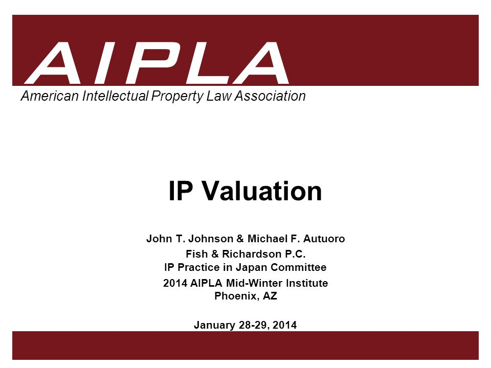 AIPLA 22 Firm Logo (4) Option-Based Method IP valuation based on stock-option pricing models –More complex –Patent rights viewed as analogous to a call option –Both give a right to exploit an asset in the future, and to exclude others from using it