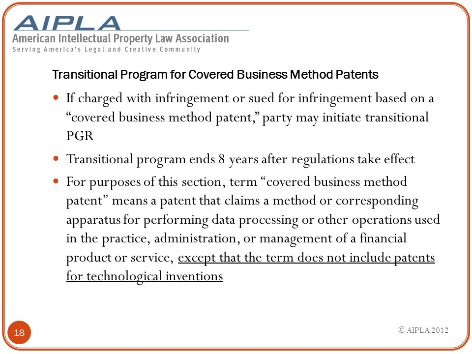 "Transitional Program for Covered Business Method Patents If charged with infringement or sued for infringement based on a ""covered business method pat"