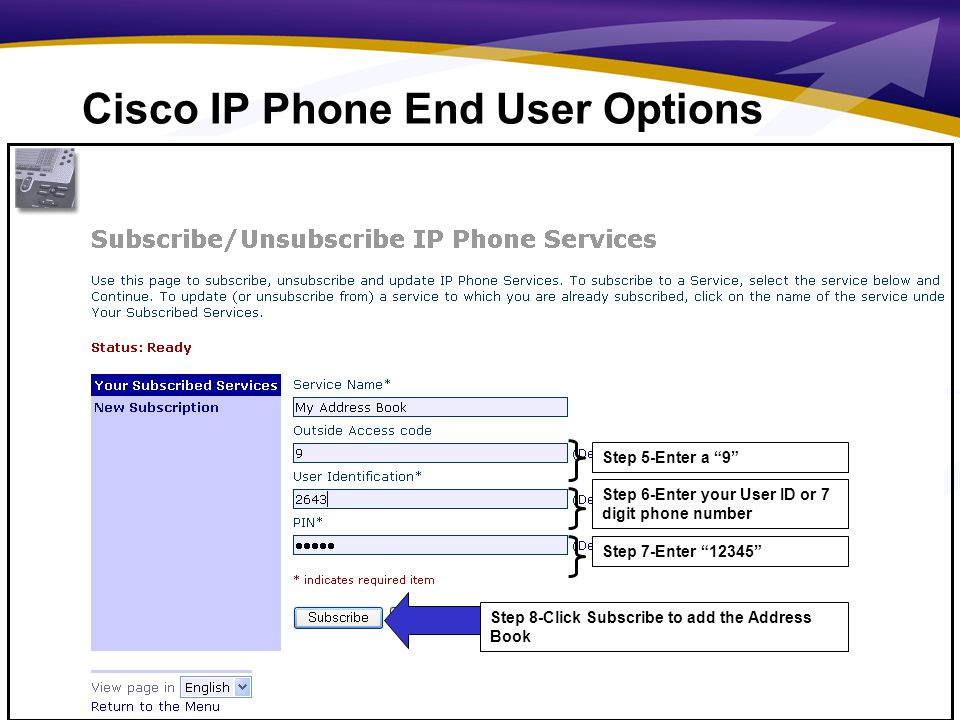 7 Step 9-Select Return to the Menu Link Cisco IP Phone End User Options